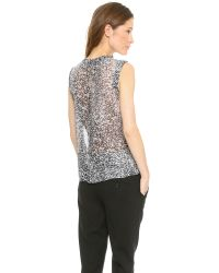 Rebecca Taylor - White Noise Print Top Blackwhite - Lyst