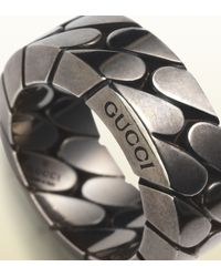 Gucci - Metallic Wide Silver Chain Ring - Lyst
