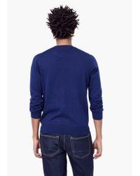 Mango - Blue Cotton Cashmere-blend Sweater for Men - Lyst