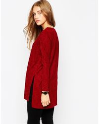 ASOS - Red Longline Top With Side Split With Long Sleeve - Lyst