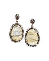 Bavna - Metallic Labradorite & Champagne Diamond Double-drop Earrings - Lyst