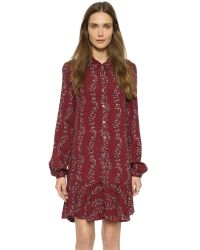 Free People - Red Slubby Crinkle Button Down Shirtdress - Smoke Combo - Lyst