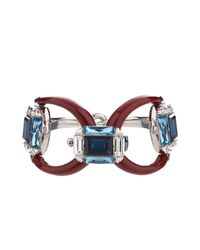 Gucci | Red Horsebit Crystal And Palladium-Plated Bracelet | Lyst