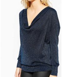Oasis | Blue Glitter Cowl Neck Top | Lyst