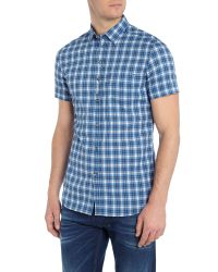 DIESEL | Blue S-jugo Check Short Sleeve Shirt for Men | Lyst