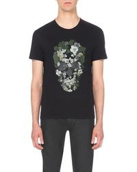 Alexander McQueen | Black Floral Skull-motif Cotton-jersey T-shirt for Men | Lyst