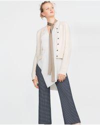 Zara   Natural Jewel Button Cardigan   Lyst
