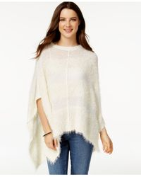 DKNY | Natural Striped Mixed Media Poncho | Lyst