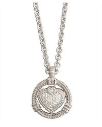 Judith Ripka | Metallic Silver Pave 'athena' Pendant Necklace | Lyst