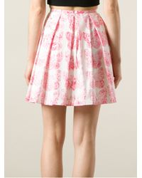 RED Valentino - Pink Butterfly Print Pleated Skirt - Lyst