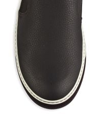 Lanvin - Black Leather & Suede Slip-on Sneakers for Men - Lyst