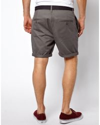 ASOS | Gray Chino Shorts In Twill With Belt for Men | Lyst