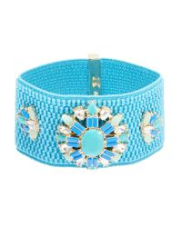 ABS By Allen Schwartz | Blue Stretch Rhinestone Bracelet | Lyst