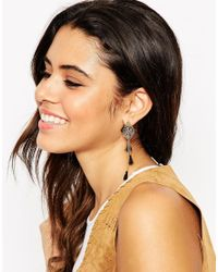 ASOS - Blue Filigree Leaf And Tassle Swing Earrings - Lyst