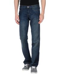 Wrangler - Blue Denim Trousers for Men - Lyst