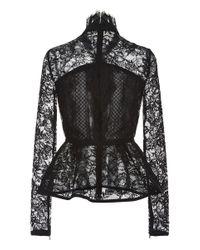 Elie Saab | Black Lace Peplum Top | Lyst