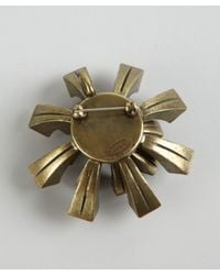 Lanvin | Metallic Bronze Metal And Crystal 'Medals' Brooch | Lyst