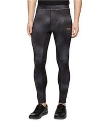 Calvin Klein | Black Mixed Media Compression Pants for Men | Lyst
