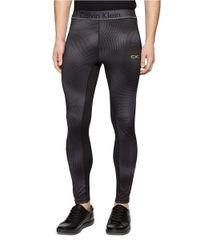 Calvin Klein - Black Mixed Media Compression Pants for Men - Lyst