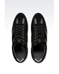Armani Jeans - Black Classic Sneaker In Leather With Logo for Men - Lyst