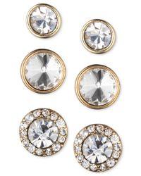 Nine West - Metallic Gold-tone Crystal Stud Earring Set - Lyst