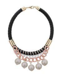 TOPSHOP - Pink Chunky Chain Large Stone Necklace - Lyst