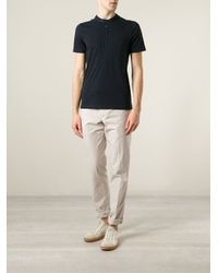 Brunello Cucinelli - Blue Band Collar Polo Shirt for Men - Lyst