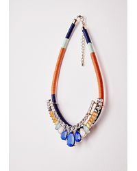 Missguided | Blue Rope Beaded Statement Necklace Multi | Lyst