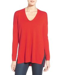 Trouvé | Red V-neck Tunic Sweater | Lyst