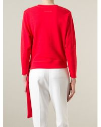 MM6 by Maison Martin Margiela | Red Tie Cropped Sweatshirt | Lyst