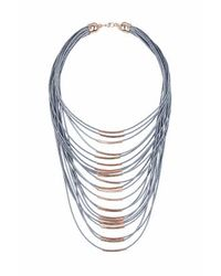 TOPSHOP - Gray Multirow Thread Necklace - Lyst