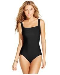 INC International Concepts | Black Lattice-back One-piece Swimsuit, Only At Macy's | Lyst