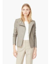 Mango - Brown Zipped Biker Jacket - Lyst