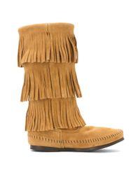 Minnetonka - Brown 3-layer Fringe Boot - Lyst