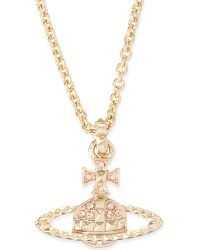 Vivienne Westwood | Metallic Mayfair Bas Relief Pendant Necklace, Women's, Peach/rose Gold | Lyst