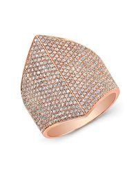 Anne Sisteron - Pink 14kt Rose Gold Diamond Helmet Ring - Lyst