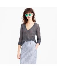 J.Crew - Metallic Iridescent Shimmer V-neck Sweater - Lyst