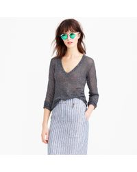 J.Crew | Metallic Iridescent Shimmer V-neck Sweater | Lyst