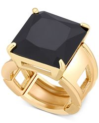 T Tahari | Black Gold-tone Jet Crystal Cocktail Stretch Ring | Lyst