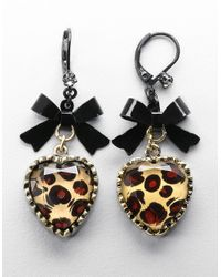 Betsey Johnson | Metallic Leopard-print Heart And Bow Drop Earrings | Lyst