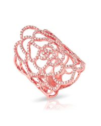 Anne Sisteron | Pink 14kt Rose Gold Diamond Camellia Ring | Lyst
