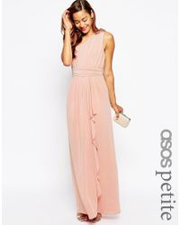 ASOS | Wedding One Shoulder Sexy Slinky Maxi Dress - Orange | Lyst
