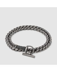 8f1cda2ff Gucci - Metallic Silver Horsebit Bracelet With Leather Wrap for Men - Lyst