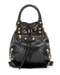 6ca91899b7 Lyst - Balenciaga Giant Mini Pompon Leather Shoulder Bag in Black