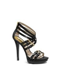 Michael Kors | Black Ava Leather Platform Sandal | Lyst