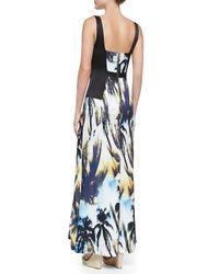 Suboo - Blue Palm-print Satin Maxi Dress - Lyst