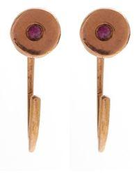 Melissa Joy Manning - Pink Rose Gold Ruby Hug Hoop Earrings - Lyst