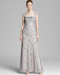 Adrianna Papell - Metallic Gown Cap Sleeve Cutout Back - Lyst