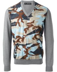 DSquared² - Gray Camouflage Print Sweater for Men - Lyst