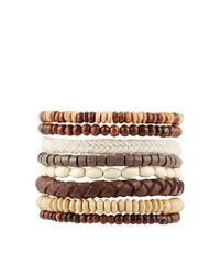 ASOS - Leather Bracelet Pack With Brown Beads for Men - Lyst